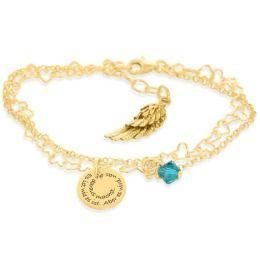 Armband vergoldet Gravur 925 Sterling Silber Flügel Kristallanhänger