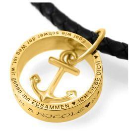 Kette Ring Anhänger vergoldet mit Gravur, Kautschukkette