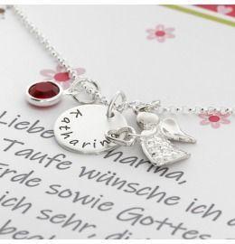 Namenskette mit Gravur, Geschenkschachtel, Schutzengel Anhänger