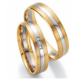 elegant schlichte Trauringe Gelbgold & Weißgold Diamanten