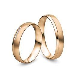 Brillantring matte Eheringe, Partnerringe aus 585/- Rosègold