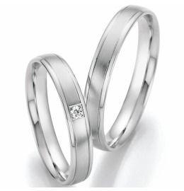 edle schmale Palladium Eheringe auch Verlobungsringe, Partnerringe mit Diamant