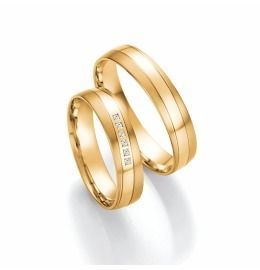 edle mattierte Eheringe aus Gelbgold mit Diamanten