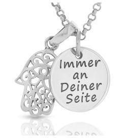 Hand Fatima Anhänger Gravur 925 Sterling Silber
