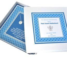 Taufkette mit Gravur, Geschenk Schachtel mit Namen, Taufgeschenk