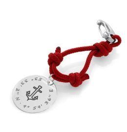 Schlüsselanhänger Anker Koordinaten Segelseil rot