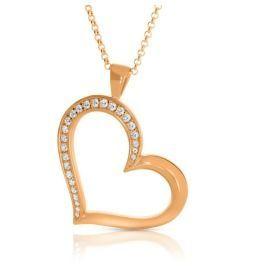 Halskette mit Herz Anhänger schräg Zirkonia rosé vergoldet