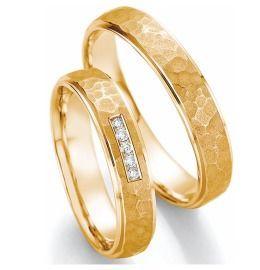 Romantische Trauringe Gelbgold mit Diamanten