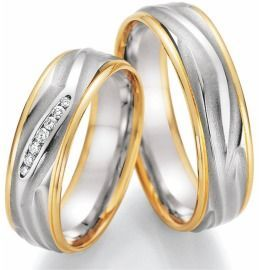 Trauringe bicolor Weiß-& Gelbgold im schönen Design mit Diamanten