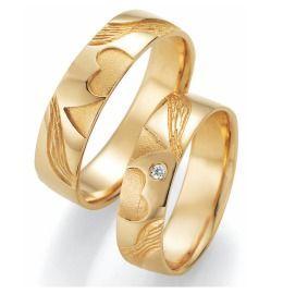 Trauringe Gelbgold 2 Herzen Diamant