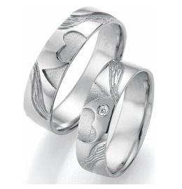 Trauringe Silber 2 Herzen Diamant