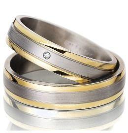 Trauringe Stahl mit Gold