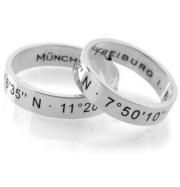Silberringe Gravur Namen Koordinaten 925 Silber Ringpaar
