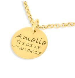 Taufkette vergoldet mit Gravur Namenskette gold