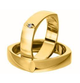 Trauringe Gelbgold Diamant schlichte Eheringe