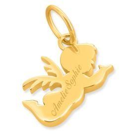Engel mit Gravur vergoldet, Geschenk zur Geburt, Taufgeschenk Schutzengel