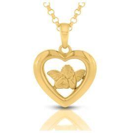 Herz Anhänger Engel Taufschmuck vergoldet Geschenk