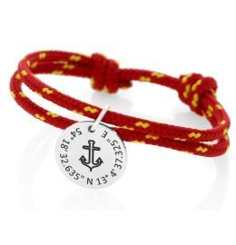 Segelseil Armband rot gelb 925 Silber Gravur Anhänger Anker