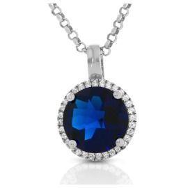 Silberkette mit royalblauen Zirkonia Anhänger 925 Silber