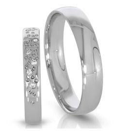 Trauringe 500/- Palladium klassisch Design Sterne Diamanten
