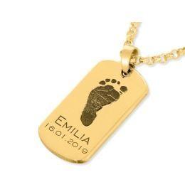 Besondere Namenskette vergoldet Dog Tag Gravur Fußabdruck