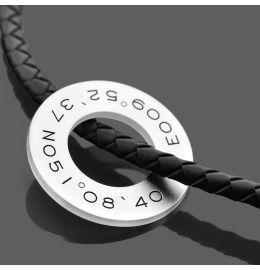 Herrenkette Kautschuk Donut Ring Gravur Koordinaten
