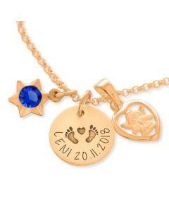 Namenskette mit Gravur Stern Schutzengel Herz Anhänger rosé vergoldet
