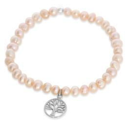 Perlen Armband Kinder Lebensbaum Anhänger 925 Sterling Silber