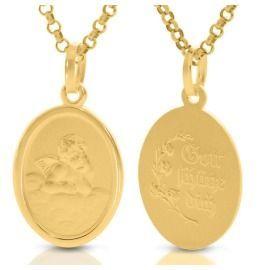 Schutzengel Medaillon vergoldet Taufkette Engelschmuck