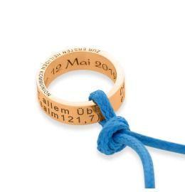 Taufkette rosé vergoldet, Kette mit Ring Anhänger Gravur