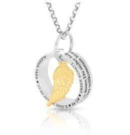 Halskette Ringanhänger Flügel vergoldet Namenskette