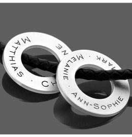 Kautschukkette mit Silberringen Gravur Herrenkette Geschenk Mann