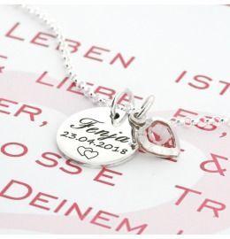 Namenskette mit Wunschgravur, Silberkette mit Namen, Geschenk Schachtel mit eigenem Text