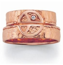 Trauringe Rosègold Peace schlicht mit Diamant Partnerringe