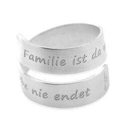Silberring gedreht Gravur Unikatring Familien Ring 925 Silber